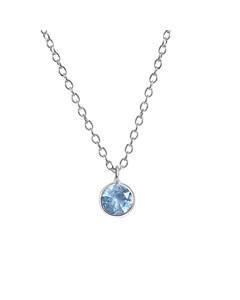 Halskette aus 925 Silber für Kinder, rund mit blauem Zirkonia