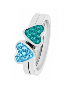 Stalen Kinderring 2in1 Blue Zircon/aqua Kristal
