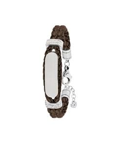 Stahl Spritzplatte Lederarmband mit Kristall-Kakao