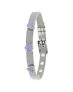 Kinderarmband mit Herz aus Stahl mit lila Kristall