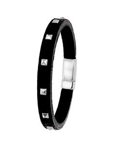 Stahlarmband für Jungen mit schwarzem Leder mit Nieten