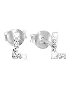 Zilveren Kinderoorbellen Initialen Kristal - L