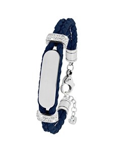 Stahl Spritzplatte Armband Leder dunkelblau Kristall