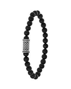 Stalen Jongensarmband Natuursteen Black Agate