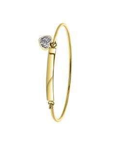 Stalen Kinderarmband Gold Wit Kristal