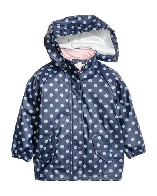 Regnjacka Med Huva Mörkblå/prickig - A hooded polkadot rain jacket in wind- and waterproof functional fabric with closed seams and an all-over print.
