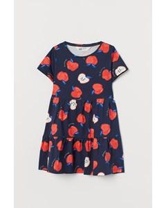 Trikåklänning I Bomull Mörkblå/äpplen