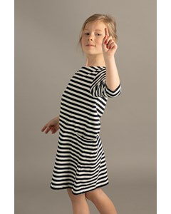 Em Nova Dress Stripe Linen Blend Navy