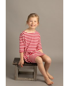 Em Nova Dress Stripe Linen Blend Raspberry
