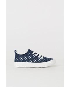 Sneakers I Canvas Mörkblå/prickig