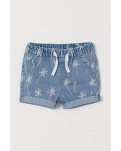 Mönstrade Jeansshorts Ljus Denimblå/palmer