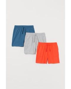 3-pack Trikåshorts I Bomull Orange/blå/gråmelerad