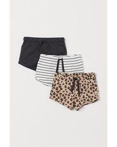 3-pack Trikåshorts Beige/leopardmönstrad