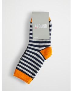 Stripe Kids Socks 3-pack Orange Navy L Grey