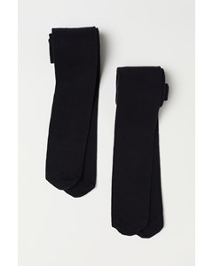 2-pack Basic Cotton Tights Black