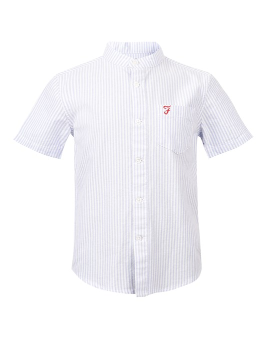 Farah Vertical Stripe Oxford Shirt Blue Water