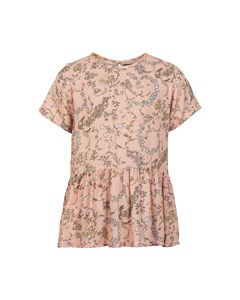 Blouse Wimsical Print Rose Smoke