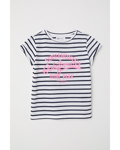 Stripped Tee With Message White