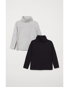 Mums Polo Neck Top 2-pack Grey