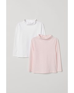 Mums Polo Neck Top 2-pack Pink