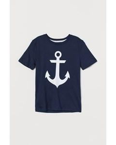 T-shirt Med Tryck Marinblå/ankare