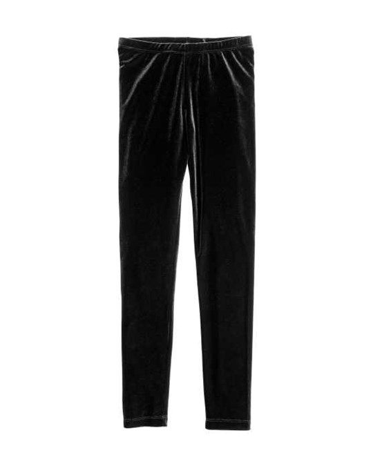 H&M Velour Leggings Black