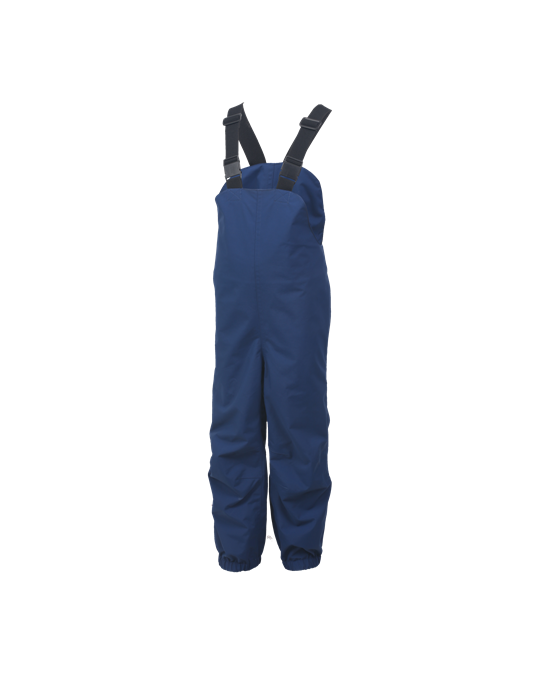 "Nolga Pants Estate Blue - Children just love playing outside, so why should we stop them, even if the weather is sometimes less than inviting. Our ""NOLGA"" pants are made to give your child a positive experience when outside in almost any kind of weather. The pants feature braces and foot straps as well as an elasticated waist, so they offer your child a good and comfortable fit. They are available in purple or dark blue and are a perfect match for our ""NEVIK"" jacket. the pants are made of waterproof, windproof and breathable material to guarantee your children hours of fun and play outdoors."