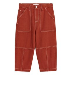 Cropped Workwear Trousers Dark Orange