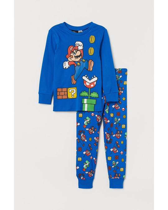 H&M Printed Pyjamas Bright Blue/super Mario
