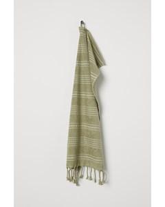 Randig Handduk Pistagegrön/randig