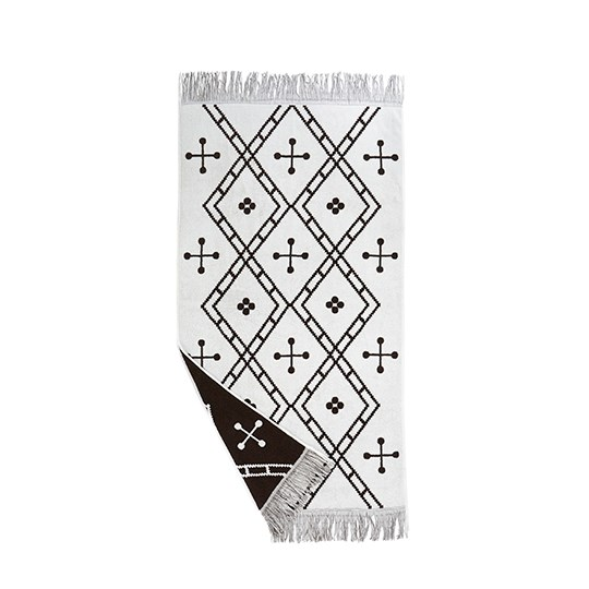Paros Towel Large Brown White - Lovely bohemian Paros Towel in brown & white, perfect and useful for the batchroom  H:6 cm W: 23 D: 33 cm