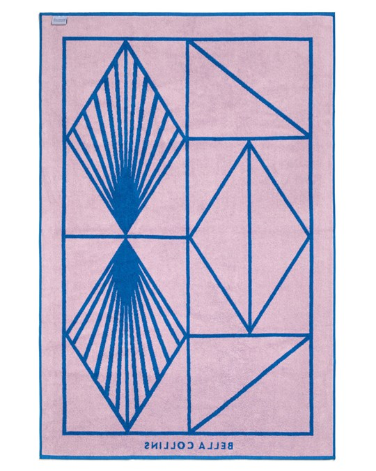 Bella Collins Beach Towel Shapes Palace Blue/pink Lavender