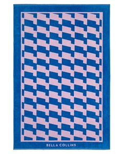 Beach Towel Waves  Palace Blue/pink Lavender