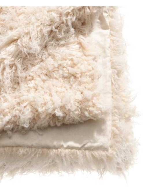 H&M HOME Curly Fur Blanket 110x150 Beige