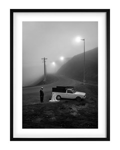 Poster Black & White Road Stop
