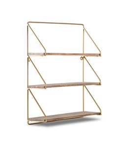 Leon 3 Tier - Floating Decorative Wall Shelf - Gold & Natural Wood