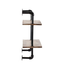 Terville 2 Tier - Floating Decorative Wall Shelf - Black & Natural Wood