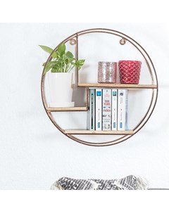 Marly - Iron & Wood - Floating Decorative Round Wall Shelf - Rose Gold