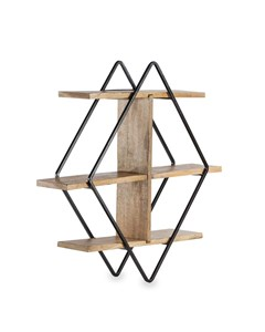 Tignes - Iron & Wood - Floating Decorative Wall Shelf - Black & Natural