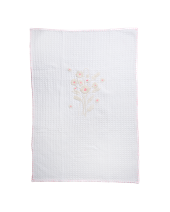 White Baby Blanket With Flower Embroidery Flower Embroidery