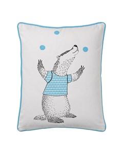 Cushion, White W/blue H50xw40 Cm