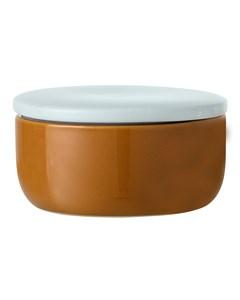 Jar W/lid, Brown, Stoneware Brown