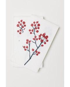 Holly Xmas Paper Napkin Nosize Red