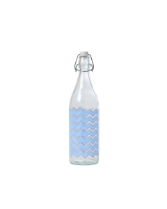 1l. Glass Bottle With Chevron Print In Soft Blue Soft Blue Chevron