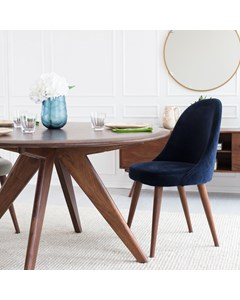 Willow - Accent Chair - Mahogany & Blue