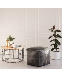 Langley Leather - Indoor Pouf With Rivets - Grey