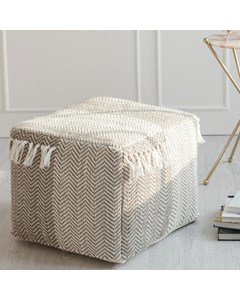 Crocket Geometric Pattern - Indoor Pouf With Tassels - Grey