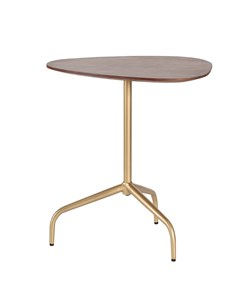 Isla - Iron & Mango Wood - Side Table - Walnut Top & Gold