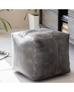 Harper Leather - Indoor Pouf- Grey