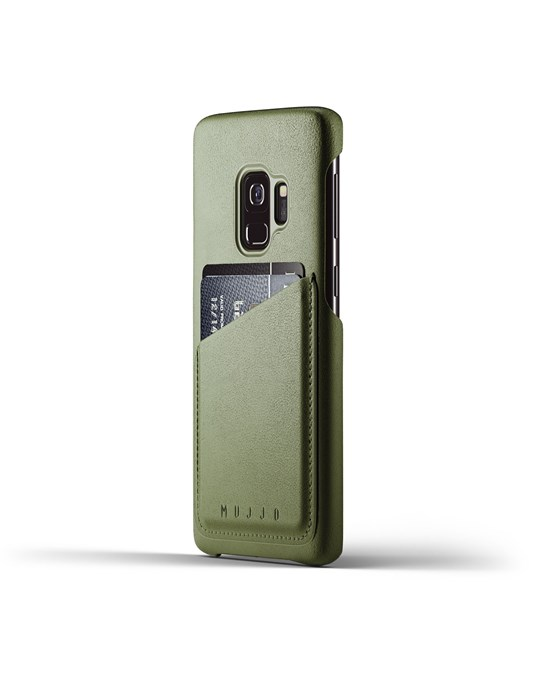 Mujjo Full Leather Wallet Case For Galaxy S9 - Olive